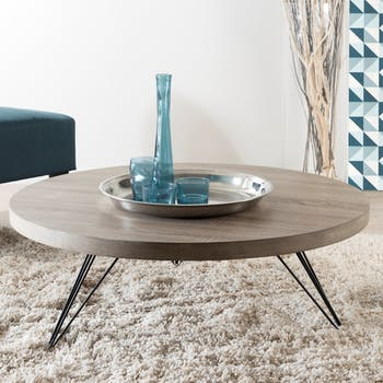 Table basse ronde moderne bois métal LANDAISE