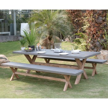 Salon de jardin Aspect Béton et piètement en Acacia Table 200x100x75cm + 2 bancs 200x40x45cm HERCULE