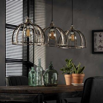 Suspension vintage ajourée métal vieilli 3 lampes TRIBECA