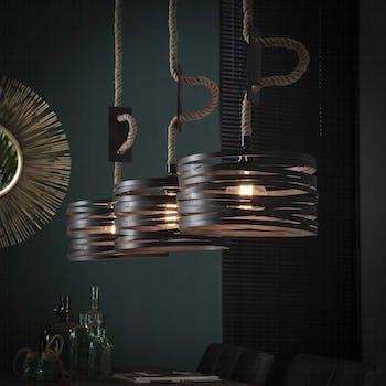 Suspension moderne effet ruban corde réglable 3 lampes RALF