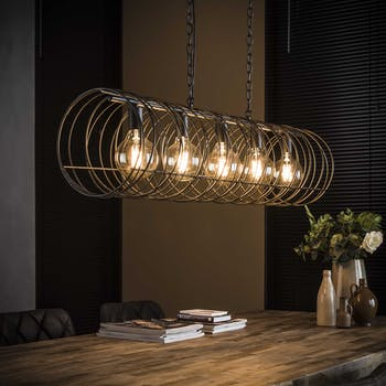 Suspension industrielle tourbillon forme cylindre 5 lampes RALF