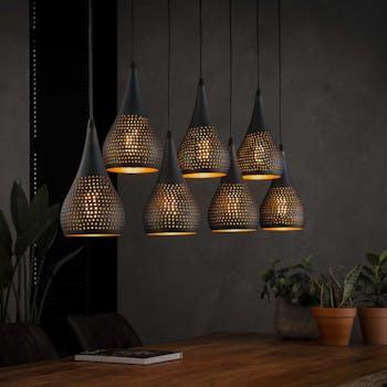 Suspension moderne goutte 7 lampes ajourées RALF