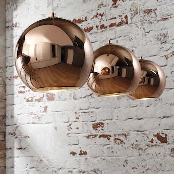 Suspension boule 3 lampes en verre cuivré JAVA