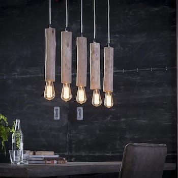 Suspension moderne 5 lampes bougies en bois JAVA