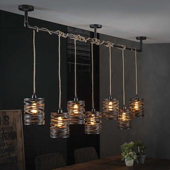 Suspension industrielle effet ruban gris ardoise 7 lampes RALF