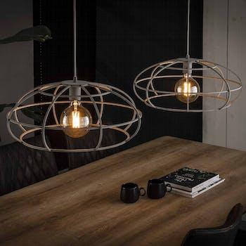 Suspension industrielle ovale métal gris 2 lampes RALF