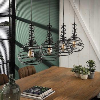 Suspension industrielle forme cône filaire noir 4 lampes RALF