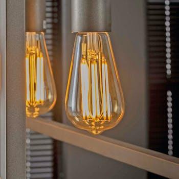Ampoule led ambrée filament forme goutte lumière chaude E27