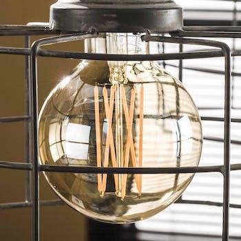 Ampoule globe led ambrée filament lumière chaude 9,5 cm E27