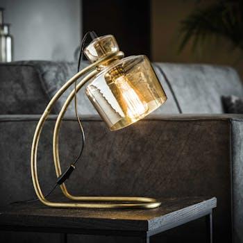 Lampe à poser vintage en verre ambré LUCKNOW
