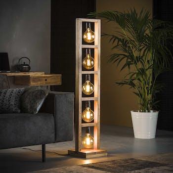 Lampadaire contemporain échelle bois 5 lampes LUCKNOW