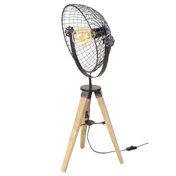 Lampe à poser industrielle projecteur grillagé trépied LUCKNOW