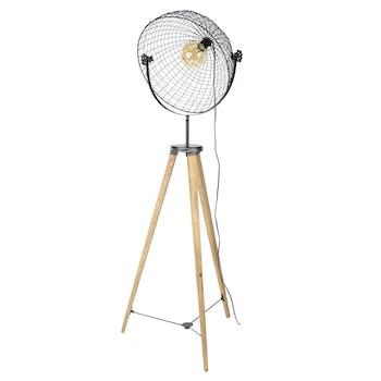 Lampadaire industriel projecteur grillagé trépied LUCKNOW