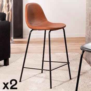Lot de 2 Chaises de Bar effet couture apparente en métal et tissu marron 41x45x87cm TIM