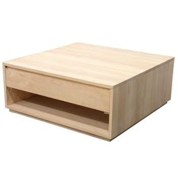 Table basse Hévéa 2 tiroirs 90x90x40cm BALTIC