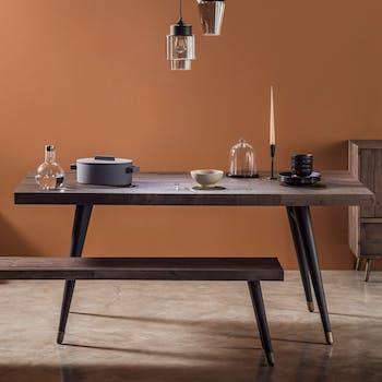 Table à manger rectangulaire bois recyclé piètement laiton 180 cm ADÉLAÏDE