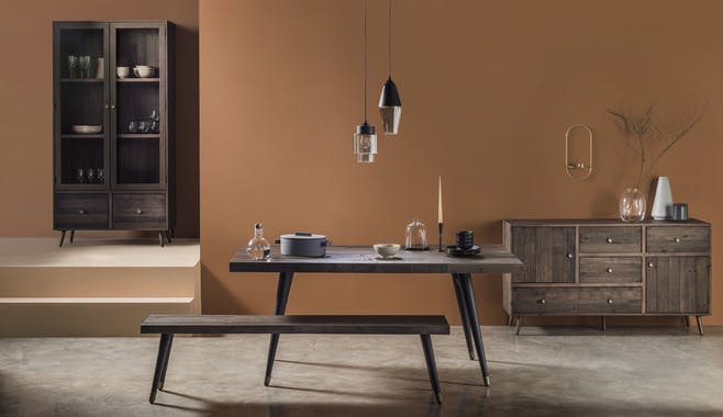 Table à manger rectangulaire bois recyclé piètement effet laiton vieilli 180 cm ADÉLAÏDE