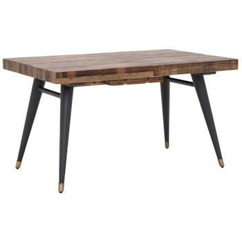 Table à manger extensible bois recyclé piètement laiton 140-180 cm ADÉLAÏDE