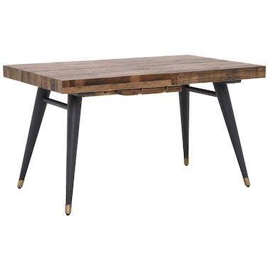 Table à manger extensible bois recyclé piètement effet laiton vieilli 140-180 cm ADÉLAÏDE