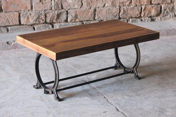 Table basse industrielle vintage bois recyclé LEEDS