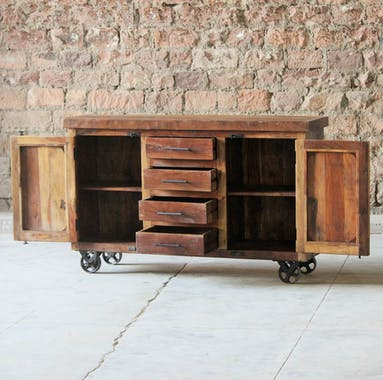 Buffet industriel vintage bois recyclé roues LEEDS
