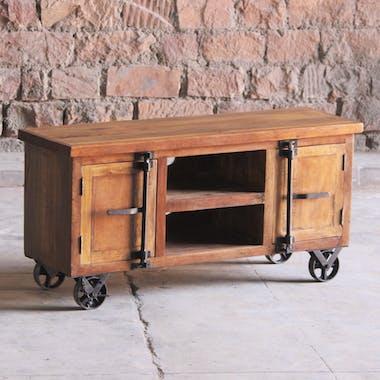 Meuble tv industriel vintage bois recyclé roues LEEDS