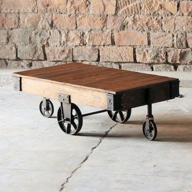 Table basse industrielle vintage bois recyclé roues LEEDS