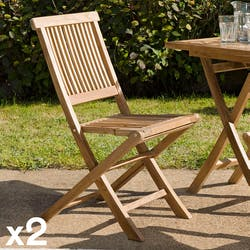 Lot de 2 chaises de jardin pliante Java en Teck 90 cm SUMMER