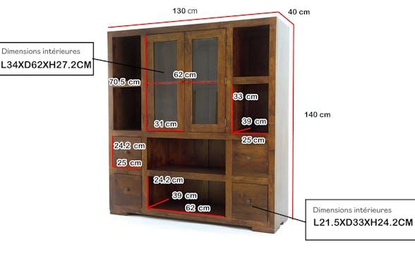 Bibliothèque / Vaisselier Hévéa 2 portes vitrées et bois, 2 tiroirs, 6 niches 130x40x140cm OLGA