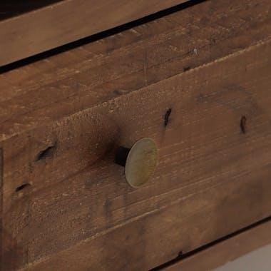 Meuble tv 4 tiroirs bois recyclé piètement effet laiton vieilli ADÉLAÏDE