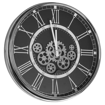 Horloge mécanisme chrome noir
