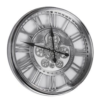 Horloge mécanisme chrome argenté