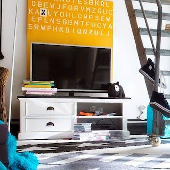 Meuble TV en bois blanc plateau noir 2 tiroirs acajou 120x45cm ROYAN