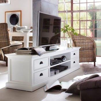 Meuble TV blanc bois d'acajou ROYAN