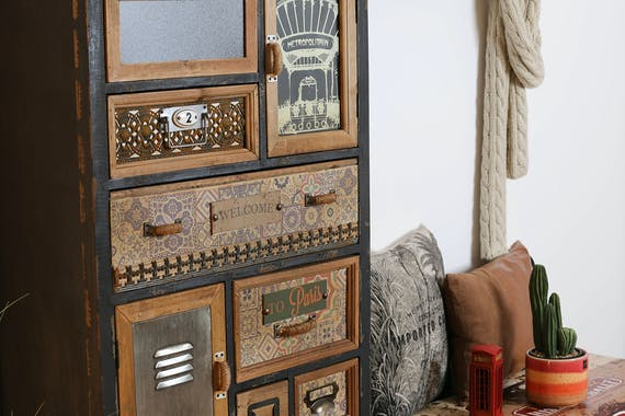 Meuble d'apothicaire 10 tiroirs 2 portes H134 cm LAMPHUN