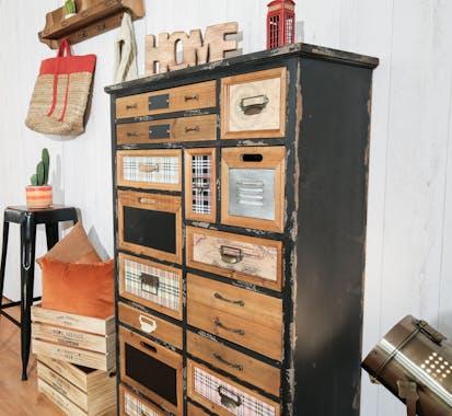 Meuble d'apothicaire 10 tiroirs 2 portes LAMPHUN