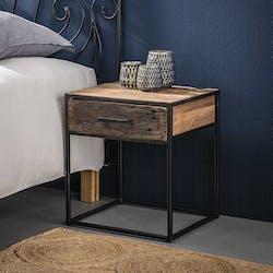 Table de nuit bois recyclé brut acier 1 tiroir WELLINGTON
