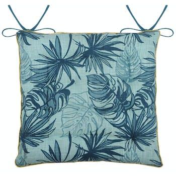 Galette de chaise 16 points décor exotique bleu canard