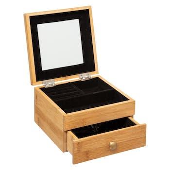 Boîte à bijoux carrée en bambou