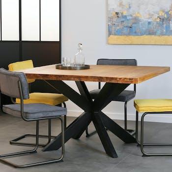 Table à manger carrée bois de teck pied métal 130 ONTARIO