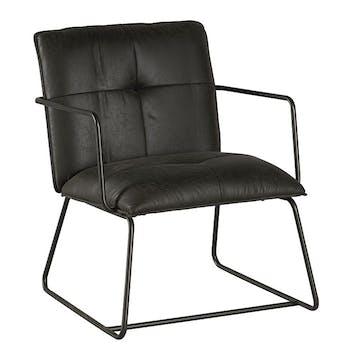Chaise industrielle grise avec accoudoirs EPIKA