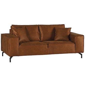 Canapé 3 places grand confort brun EPIKA
