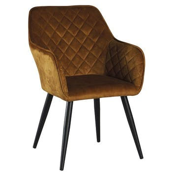 Fauteuil velours moutarde MALMOE