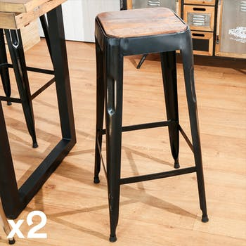 Tabouret de bar noir (lot de 2) LEEDS