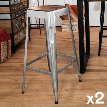 Tabouret de bar gris chromé (lot de 2) LEEDS