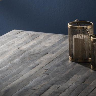 Table à manger bois recyclé grisé lamelles 200 cm TASMANIE