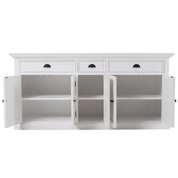 Bibliothèque blanche bois avec rangements fermés ROYAN