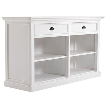 Buffet blanc bois 2 tiroirs 4 niches ROYAN
