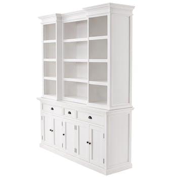 Vaisselier blanc bois 5 portes et compartiments ROYAN
