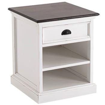 Chevet blanc en bois dessus noir 1 tiroir ROYAN
